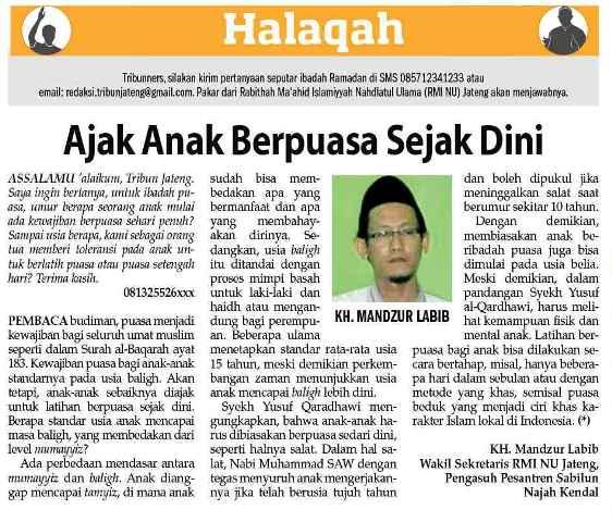Gandeng Tribun Jateng, RMI NU Buka Rubrik Halaqah Ramadhan