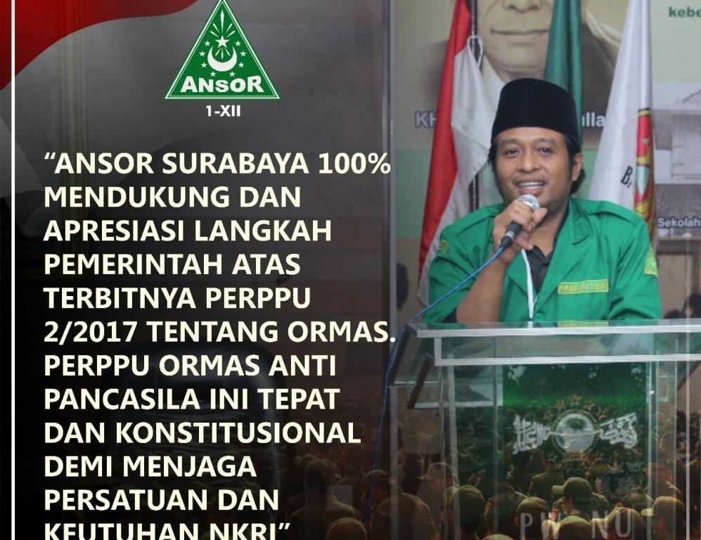 GP Ansor Surabaya Siap Kawal Perppu Ormas Sampai Tingkat Bawah