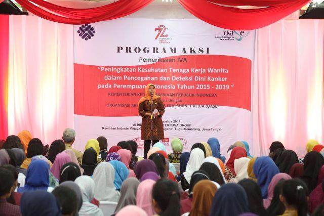 Kemnaker Fasilitasi Pemeriksaan Dini Kanker Serviks 1.500 Pekerja Wanita
