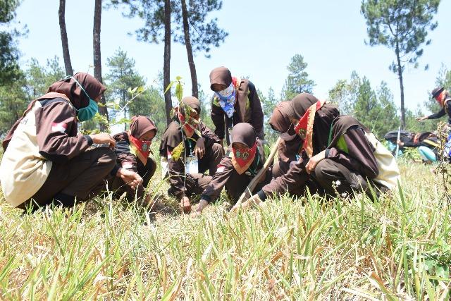Peserta Perwimanas II Lakukan Perawatan Pohon di Taman Nasional Gunung Merapi
