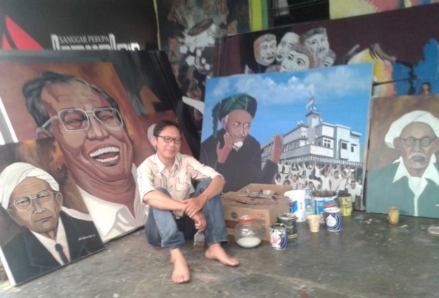 Tertarik NU, Seniman Ini Lukis Ulama-ulama Nusantara