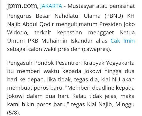 Berita Pengasuh Al Munawir Krapyak Ultimatum Jokowi, Seratus Persen Hoaks