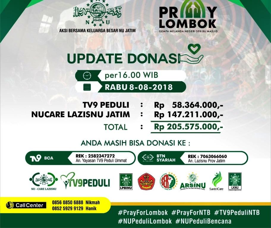 Al-Ittihad Ponorogo Salurkan Bantuan Gempa Lombok Lewat LAZISNU