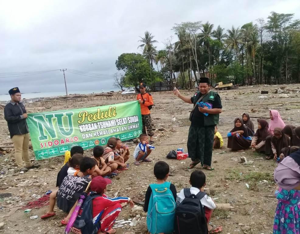 NU Sidoarjo Bantu Langsung Korban Tsunami Selat Sunda