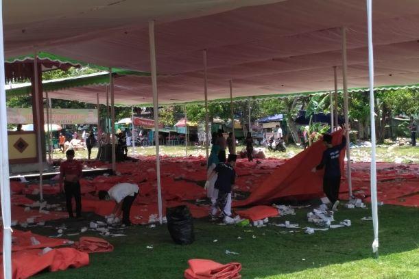 LPBI NU Kebumen Pimpin Aksi Bersih Sampah di Perhelatan Manaqib Kubro