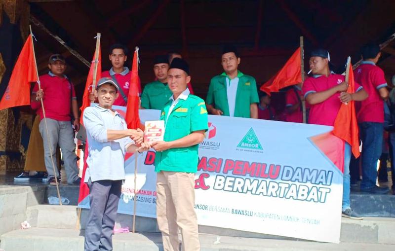 Bawaslu Gandeng Ansor Lombok Tengah Deklarasi Pemilu Damai