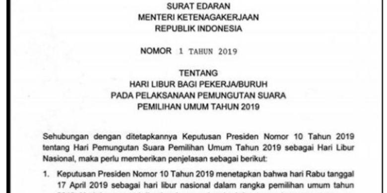 Menaker Terbitkan Surat Edaran Hari Libur Pemilu 2019
