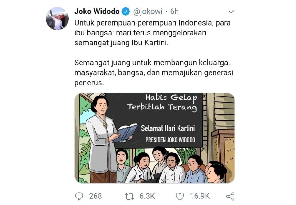 Jokowi Hingga Alissa Wahid Ramai Ucapkan Hari Kartini