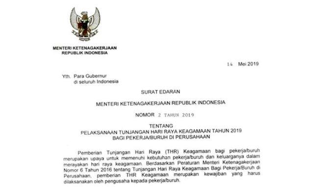 Menaker Terbitkan Surat Edaran Pelaksanaan Thr 2019 Ini Isinya