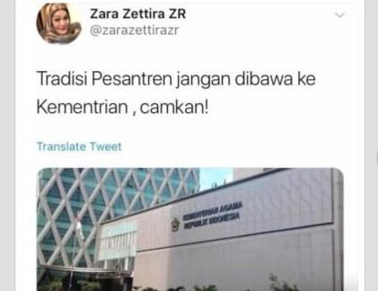 Hastag #ZarazettiraHinaPesantren Sedang Trending di Twitter