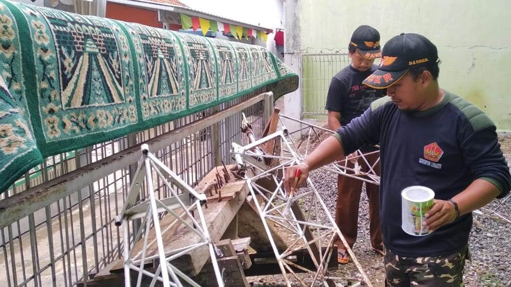 Peringati Harlah NU, Ansor Banser Lebaksiu Tegal Kampanyekan Masjid Bersih