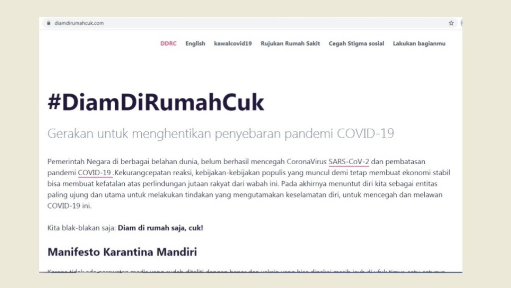 Web diamdirumahcuk[dot]com Berikan Edukasi Publik tentang Covid-19