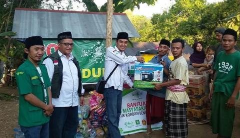 Penyerahan bantuan NU Peduli di Lombok Utara (22/8)