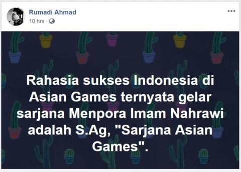 Menpora Imam Nahrawi Sarjana Asian Games