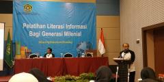 Dirjen Bimas Islam Muhammadiyah Amin pada Pelatihan Literasi Informasi bahi Geerasi Milenial, Senin (24/6).