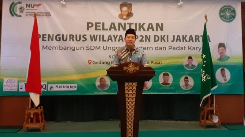 Anggota DPR RI Muhammad Rakyan Ihsan Yunus saat menyampaikan sambutannya pada acara Pelantikan P2N DKI Jakarta di Gedung PBNU, Jakarta Pusat, Kamis (5/12). (NU Online/Husni Sahal)