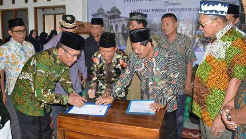 Sukseskan Muktamar NU, IAI An-Nur MoU dengan LAZISNU Lampung