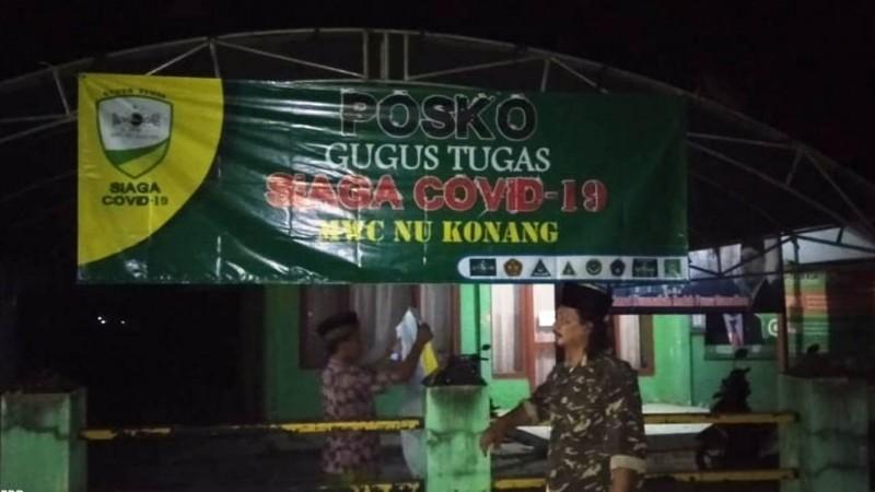Posko Gugus Tugas didirikan MWCNU Konang Bangkalan. (Foto: NU Online/Abdullah Hafidi)