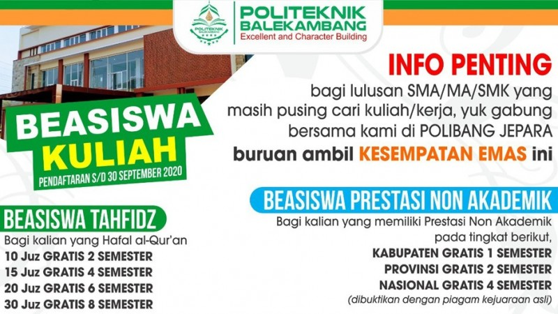 Tarik Minat Kuliah, Politeknik Balekambang Jepara Tawarkan Beragam Beasiswa