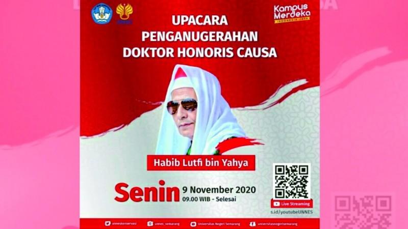 UnnesSemarang Bakal Anugerahi Gelar Doktor Honoris Causa ke Habib Lutfi bin Yahya