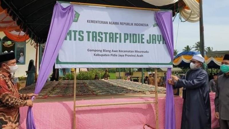 Bumikan Aswaja di Aceh, Rais PCNU Pidie Jaya Dirikan MTs Tastafi