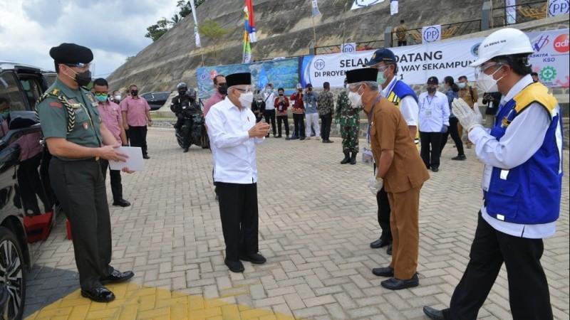 Wapres KH Ma'ruf Amin Tinjau Pembangunan Bendungan Way Sekampung di Lampung