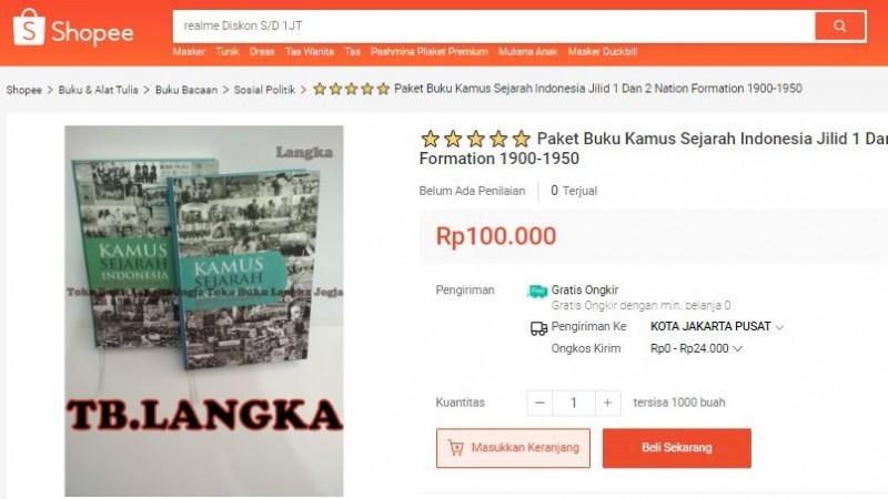 Terungkap, Kamus Sejarah Kemendikbud Dijual di Bukalapak, Tokopedia, dan Shopee