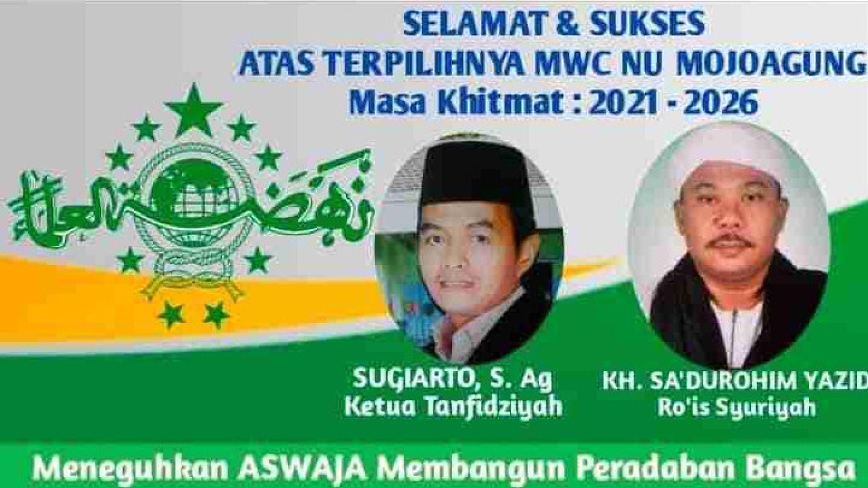 KH Sa'durohim Yazid dan Sugiarto Pimpin MWCNU Mojoagung