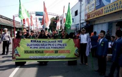 Jaga Semangat Berkarya, Pelajar NU Purbalingga Gelar Kirab 1000 Bendera