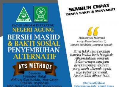 Ansor-Fatayat Kolaborasi Adakan Bersih Masjid dan Penyembuhan Alternatif