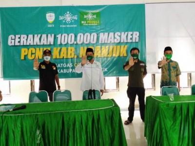 Tangkal Corona, NU Nganjuk Luncurkan Gerakan Seratus Ribu Masker
