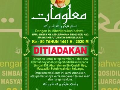 Haul Masyayikh Pesantren Futuhiyyah Mranggen Demak Tahun Ini Ditiadakan