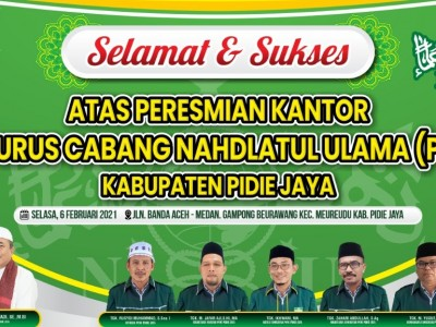 Kantor PCNU Pidie Jaya Diresmikan Ulama Aceh