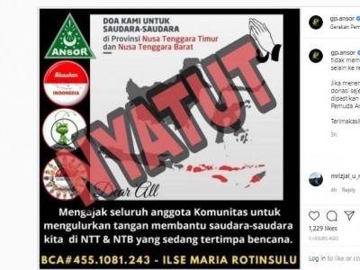 Donasi Bencana NTT Dicatut, Ini Rekening Donasi GP Ansor yang Benar