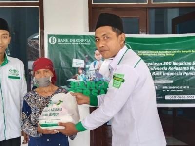 Sinergi dengan BI, LAZISNU Jember Salurkan 380 Paket Sembako