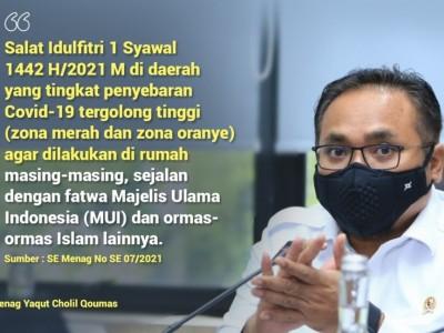 Pemerintah Tetapkan Idul Fitri 1442 H Jatuh pada Kamis 13 Mei 2021