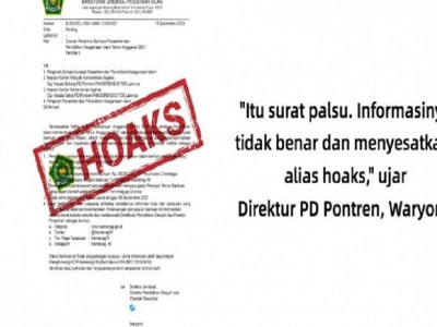 Circular letter of pesantren assistance recipients, Ministry of Religious Affairs: hoax